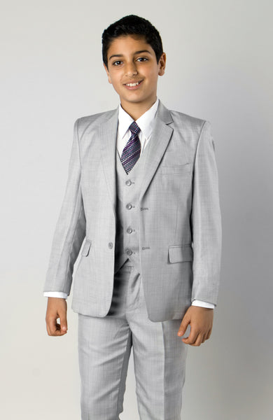 5 Piece Light Grey Boys 2 Button Suit