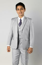 5 Piece Light Grey Boys 2 Button Suit With Vest, Dress Shirt and Tie