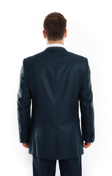 Mid Blue Slim Fit Sharkskin Suit