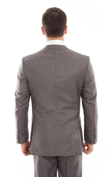 Grey Birdseye Peak Lapel Three Piece Suit