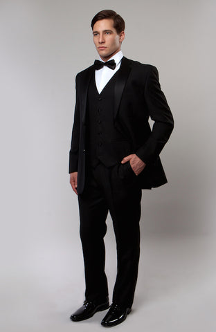 Black 3 Piece Vested Slim Fit Tuxedo