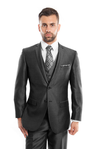 Black Three Piece Herringbone Vested Suit