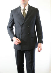 Black Double Breasted Peak Lapel Slim Fit Suit