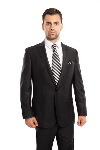 Black One Button Slim Fit Suit