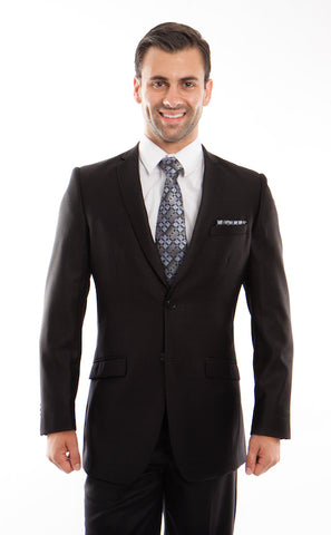 Black Shiny Tone-on-Tone Stripe Suit