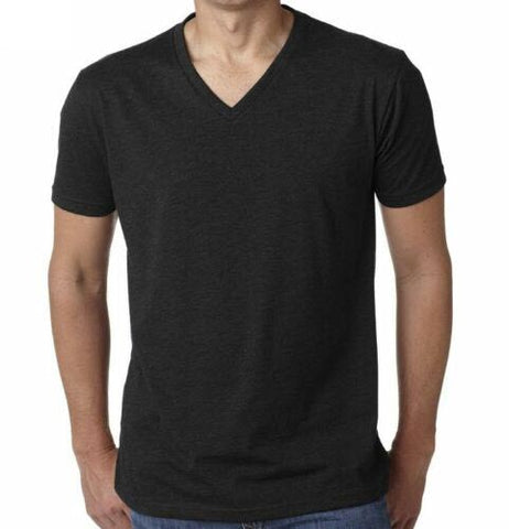 Men's Cotton Black V-Neck T-Shirt
