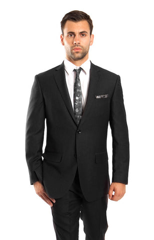 Black 100% Wool Stripe Suit