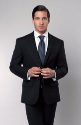 Black Solid Two Button Slim Fit Blazer