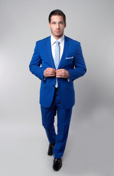 Blue Notch Lapel Formal Chalk Stripe Slim Fit Suit