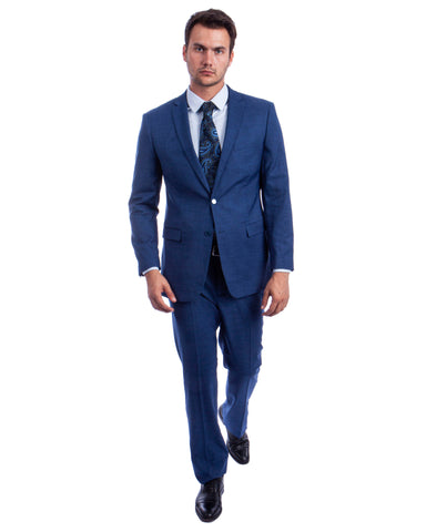Blue two Button Textured Modern Fit Suit