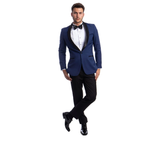 Blue One Button Shawl Collar Tuxedo