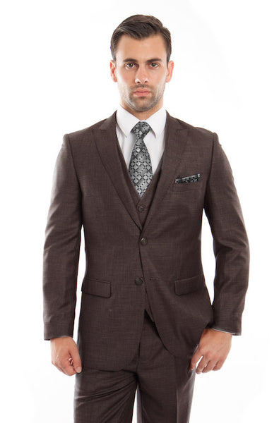 Brown Birdseye Peak Lapel Three Piece Suit
