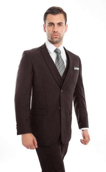 Brown Tone on Tone Stripe Three Piece Suit