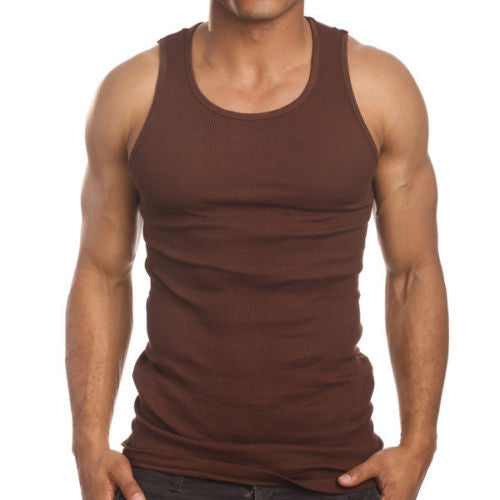 Men's 6 Pack A Shirts Cotton Tank Top Brown Undershirt