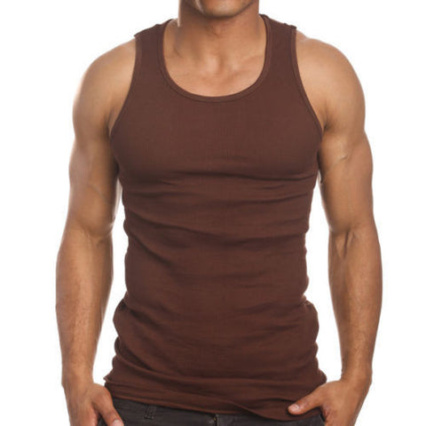 Men's 3 Pack A Shirts Cotton Tank Top Brown Undershirt
