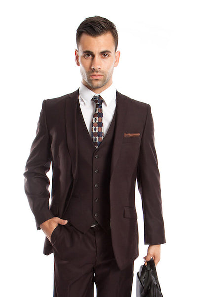 Brown 3 Piece Slim Fit Vested Suit