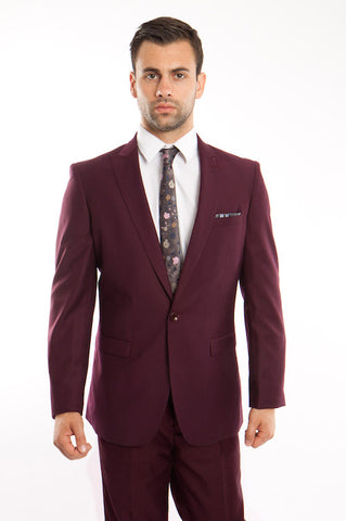 Burgundy One Button Slim Fit Suit