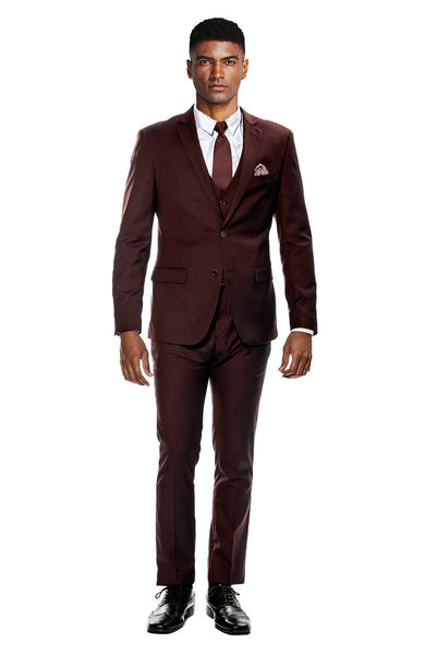 Burgundy Ultra Slim Fit 3-Piece Prom Suit