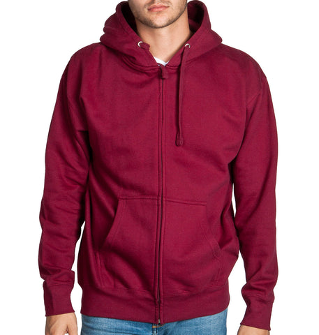 Burgundy Zip Up Hoodie Sweatshirt