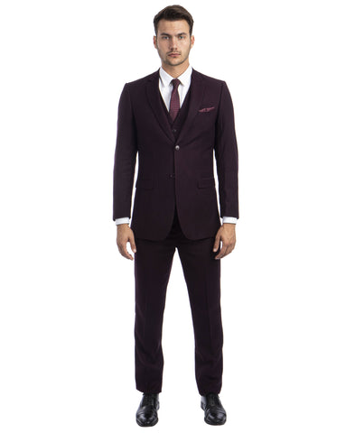 Burgundy Pinstripe Slim Fit Vested Suit