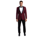 Burgundy One Button Shawl Collar Tuxedo