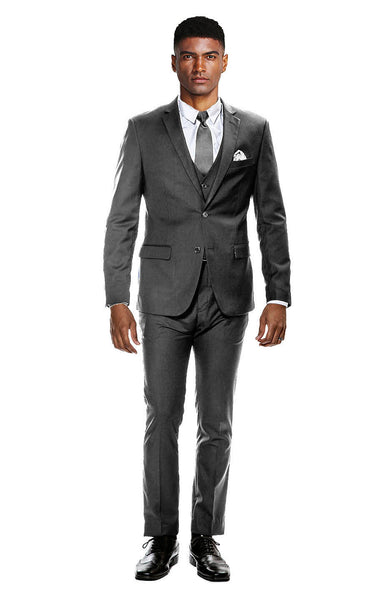 Charcoal Gray Ultra Slim Fit 3-Piece Prom Suit
