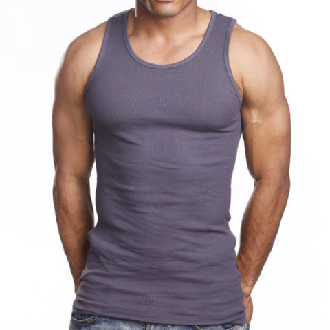 Men's 6 Pack A Shirts Cotton Tank Top Charcoal Undershirt