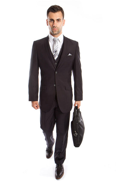 Solid Modern Fit Dark Grey 3-Piece Vested Suit