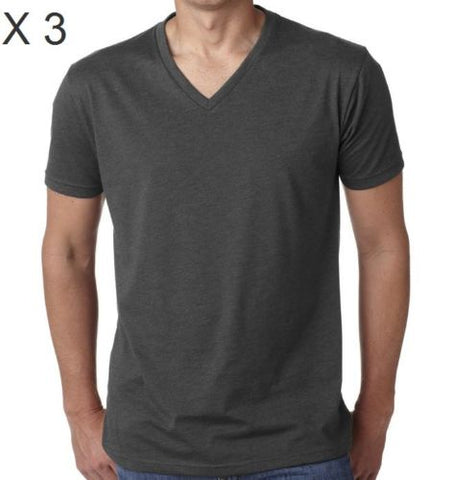 Men's Cotton Charcoal V-Neck T-Shirt