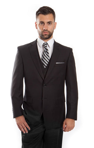 Charcoal Wool Windowpane Vested Suit