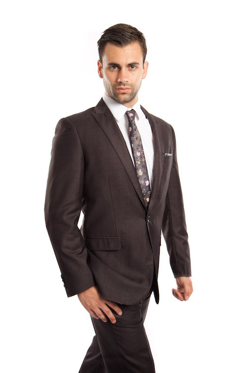 Dark Grey One Button Slim Fit Suit-Wedding Suits for Groom – Apparel99