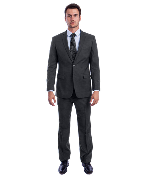 Dark Grey two Button Textured Modern Fit Suit