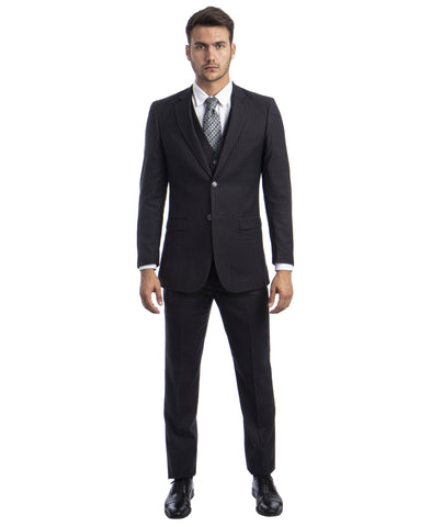 Dark Gray Pinstripe Slim Fit Vested Suit