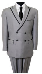 Grey Double Breasted Satin Trim Peak Lapel Slim Fit Suit