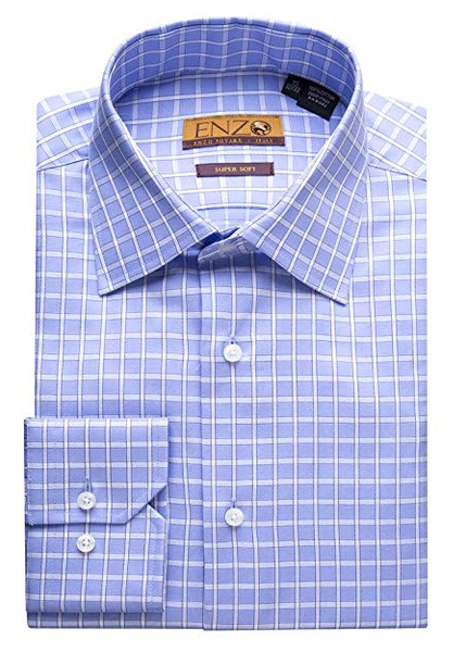 Blue Multi Check Cotton Barrel Cuff Dress Shirt