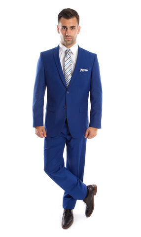 Two Button Royal Blue Slim Fit Suit