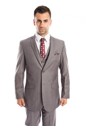 Men's Grey Solid Three Piece Modern Fit Vested Suit