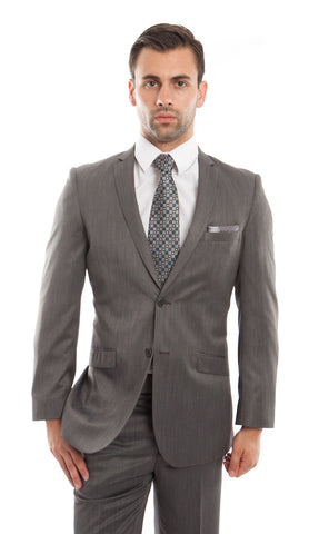 Grey Chalk Stripe Slim Fit Suit