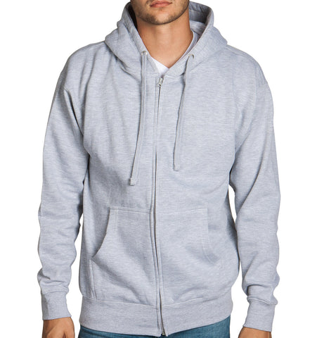 Heather Grey Zip Up Hoodie Sweatshirt