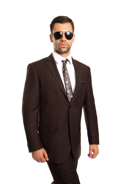 Dark Olive Green 100% Wool Stripe Suit