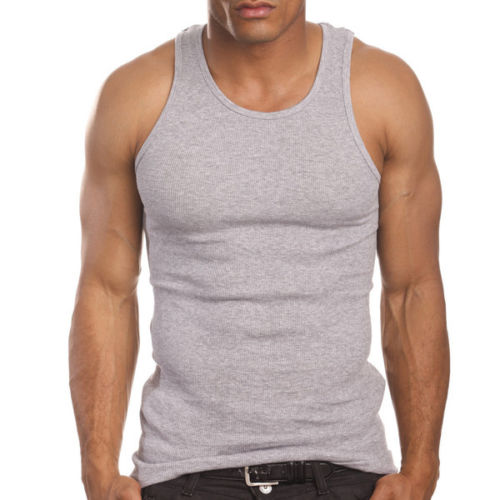 Men's 3 Pack A Shirts Cotton Tank Top Heather Grey Undershirt