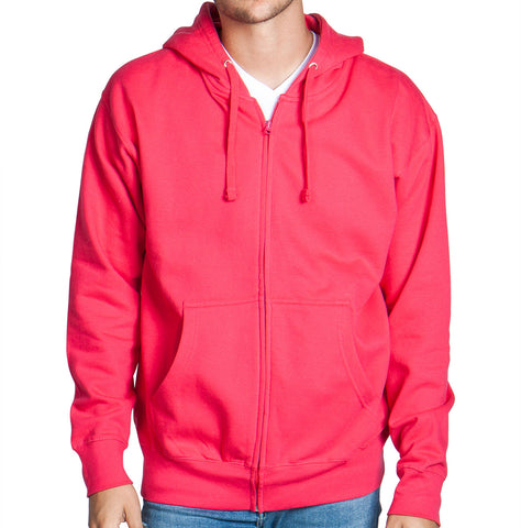 Hot Pink Zip Up Hoodie Sweatshirt