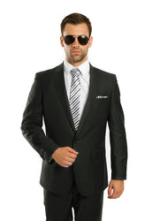Green One Button Slim Fit Suit