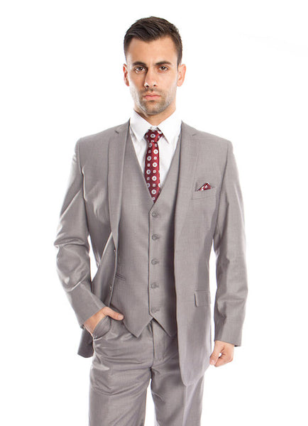 Men's Light Grey Solid Three Piece Modern Fit Vested Suit