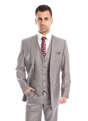 Modern Fit Light Grey 3-Piece Suit with Solid Vest