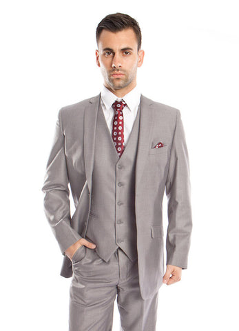 Light Grey 3 Piece Slim Fit Vested Suit