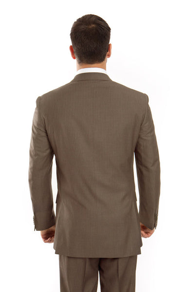 Olive Green 100% Wool Stripe Suit