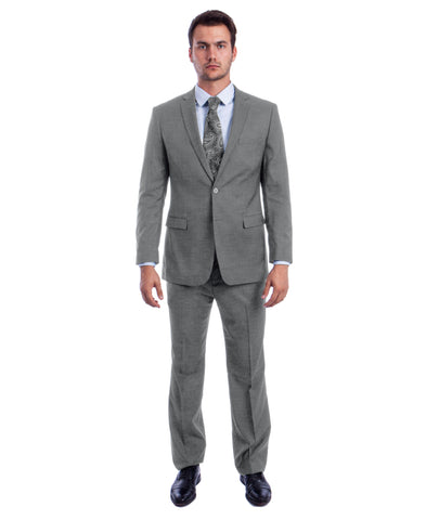 Light Grey two Button Textured Modern Fit Suit