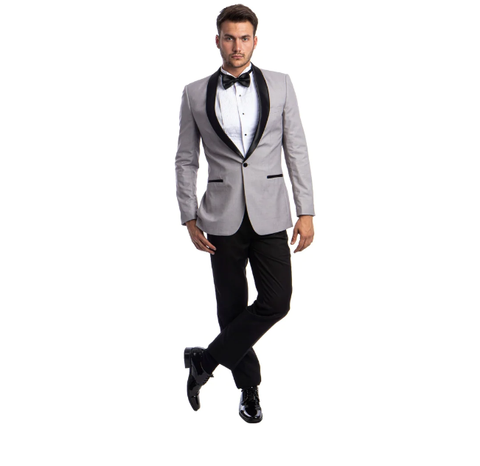 Light Grey One Button Shawl Collar Tuxedo