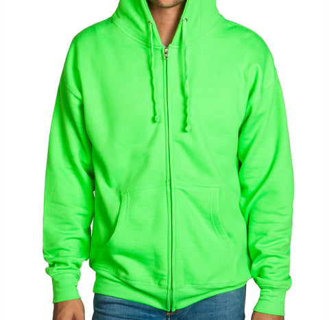Neon Lime Green Zip Up Hoodie Sweatshirt